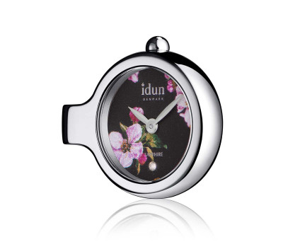 Pendant Charm Watch with Floral Pattern Dial and one White Stone – DCW1420