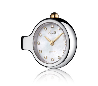 Pendant Charm Watch with Mother of Pearl Dial, White Stones and Two-Tone Casing - DCW2200