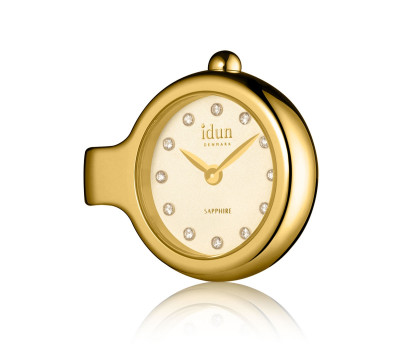 Pendant Charm Watch with Champagne Dial, Gold Plated Case and White Stones - DCW3300