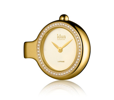 Pendant Charm Watch with Champagne Dial, Gold Plated Case and White Stones - DCW3300CZ