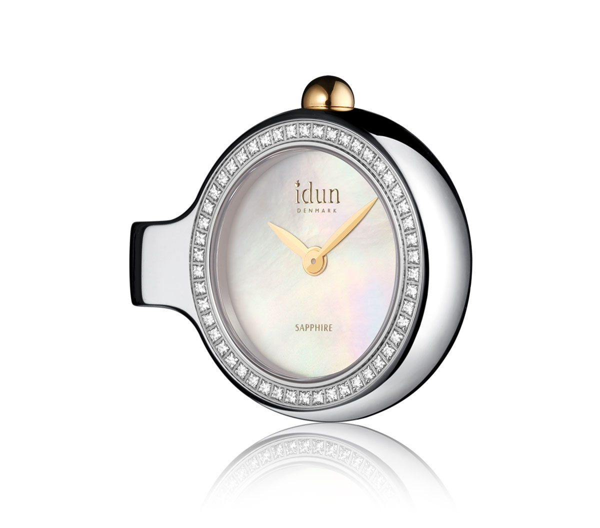 Pendant Charm Watch with Mother of Pearl Dial, Two-Tone Case and White Stones - DCW2200CZ