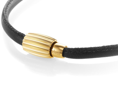Idun Single Leather Bracelet with Gold Plated Lock