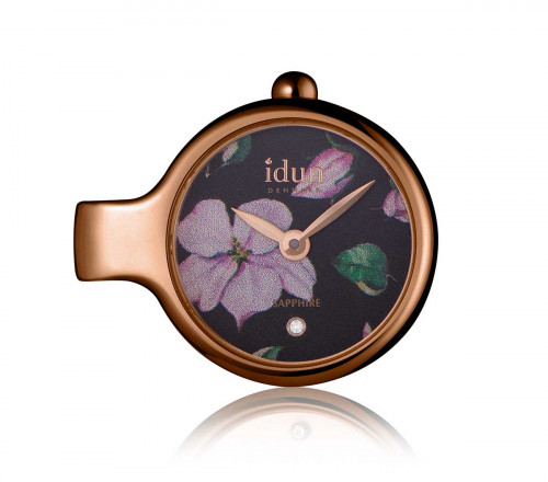 Pendant Charm Watch with Floral Pattern Dial, Rose Gold Plated Case and one White Stone – DCW4420