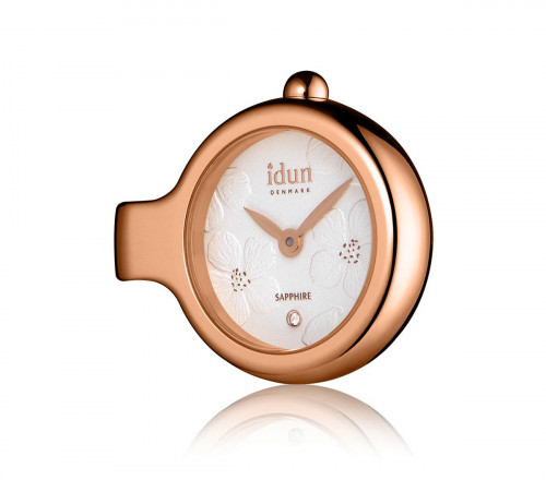 Pendant Charm Watch with Embossed Floral Pattern Dial, Rose Gold Plated Case and one White Stone – DCW4510