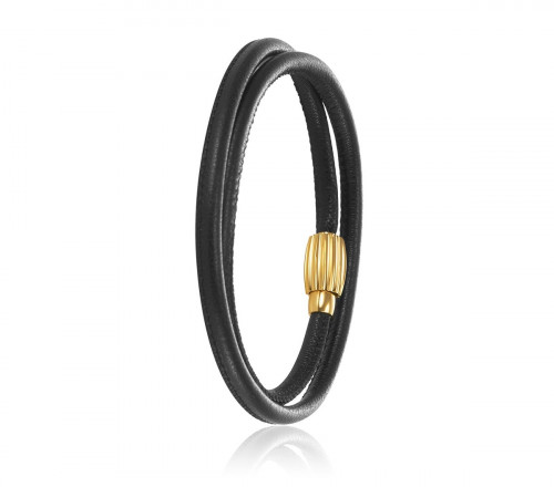 Idun Double Leather Bracelet with Gold Plated Lock