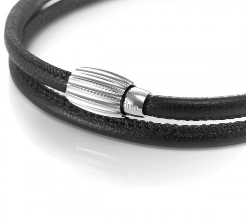 Idun Double Leather Bracelet with Stainless Steel Lock