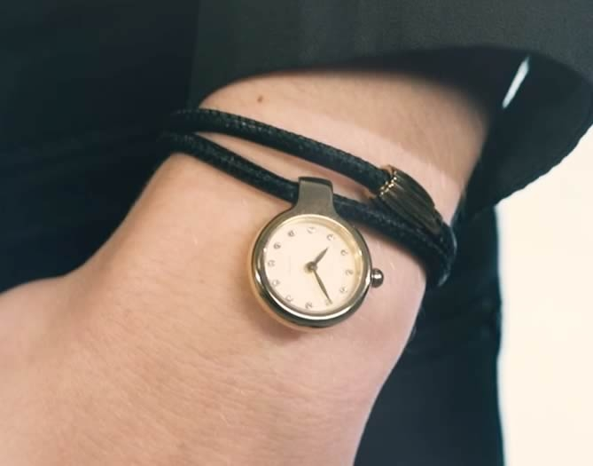 Idun Denmark Pendant Charm Watch on double leather bracelet