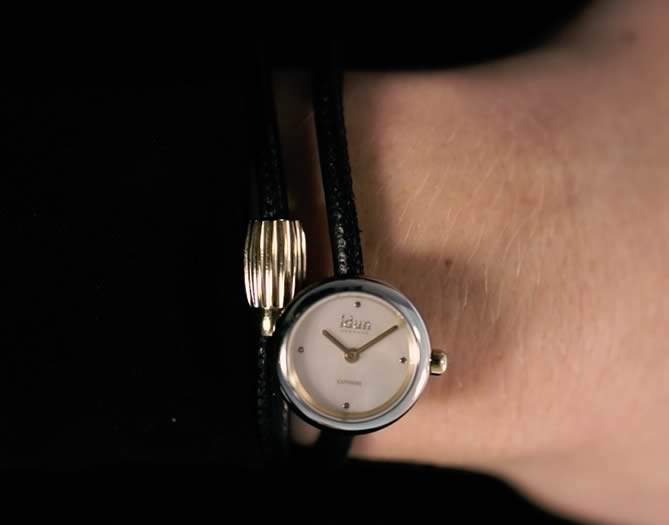 Idun Denmark Rocking Charm Watch on double leather bracelet