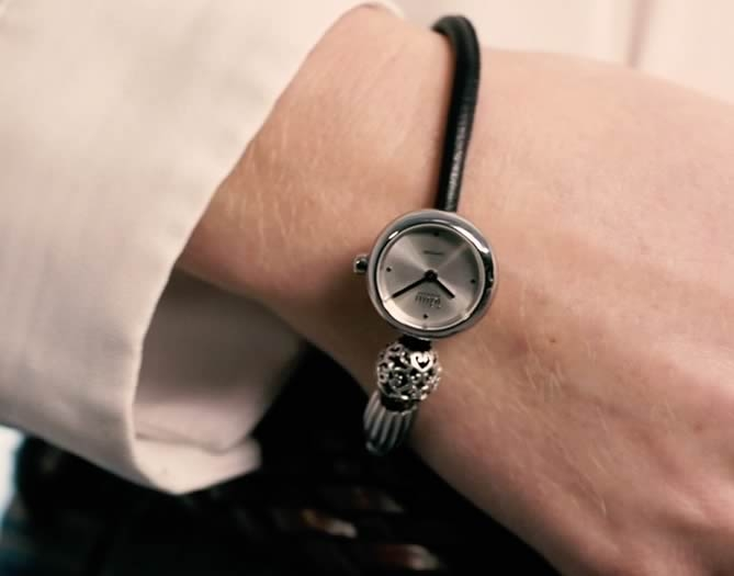 Idun Denmark Rocking Charm Watch on leather bracelet